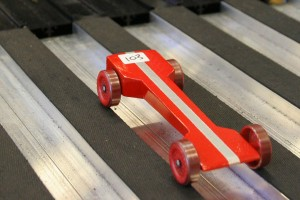 Red Pinewood Derby Car
