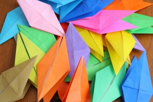Half folded cranes