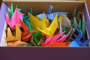 box of paper cranes