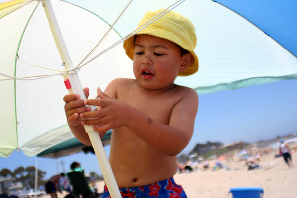 Hapa boy at beach