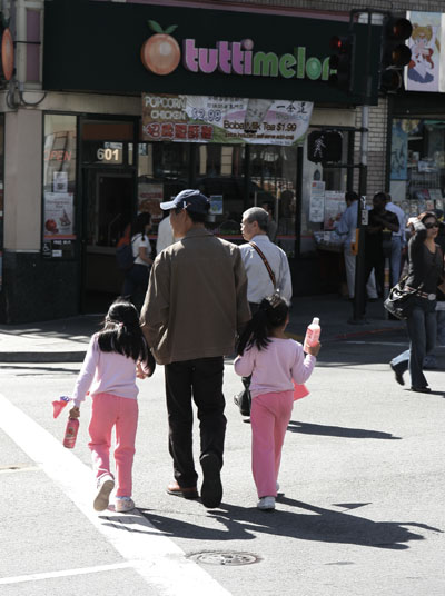 Grandfather and Chinese girls