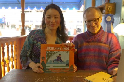 "Author Ying Chang Compestine and Illustrator Yan Nascimbene with ""Crouching Tiger"""