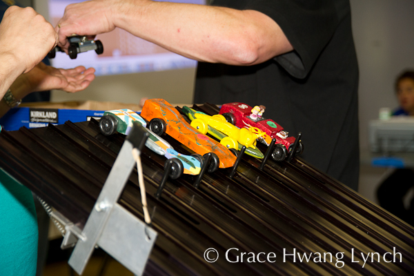 Banana slug car on Pinewood Derby track