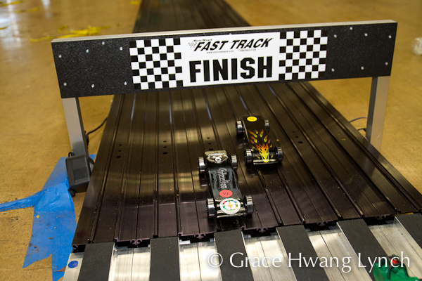 Pinewood Derby cars at Finish Line