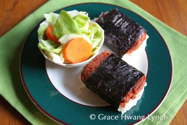 Corned Beef musubi and Cabbage