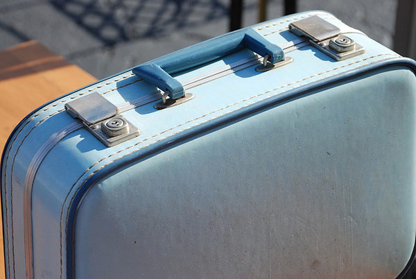 old blue suitcase