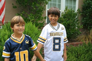 My boys, decked out in Cal Berkeley gear