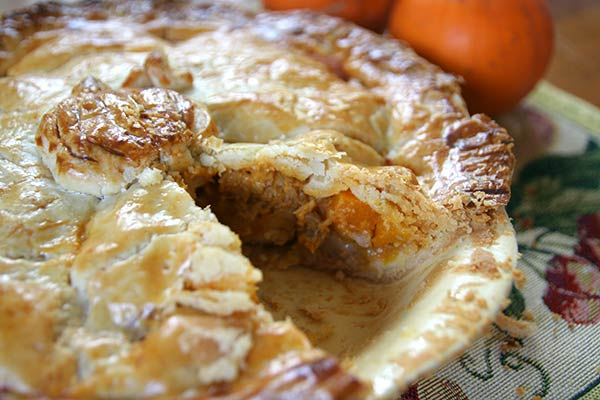 Pumpkin curry chicken pot pie slice