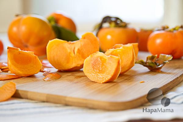 Cut persimmons