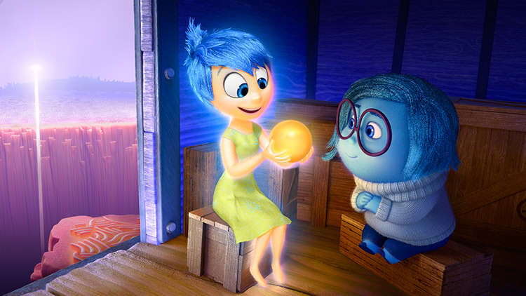 Joy and Sadness from Disney PIXAR Inside Out