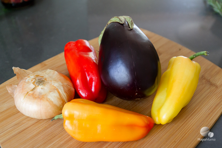 Ingredients for Eggplant and Pepper stirfry