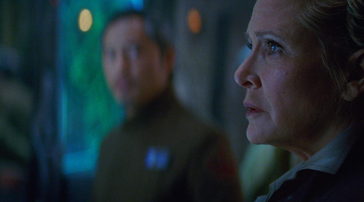 Carrie Fisher as General Leia in Star Wars VII,