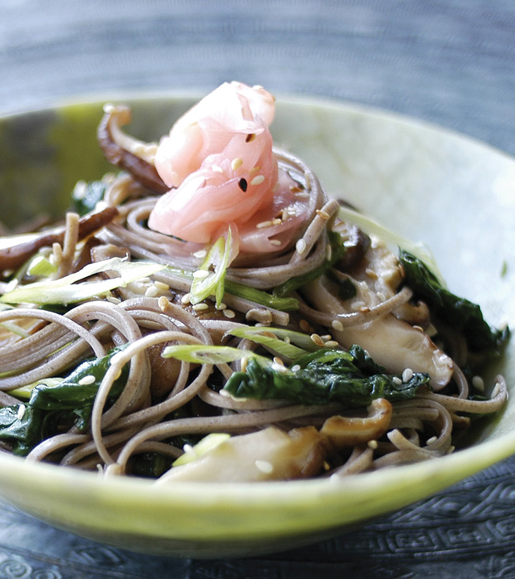 Soba Noodle Salad with Shitake and Spinach