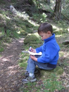 The budding cartographer charting our way.