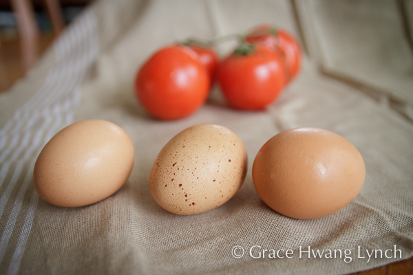 Three brown eggs