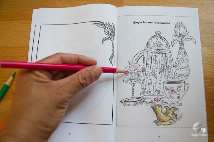 hand coloring a picture of teapot Filipino Food Coloring Book