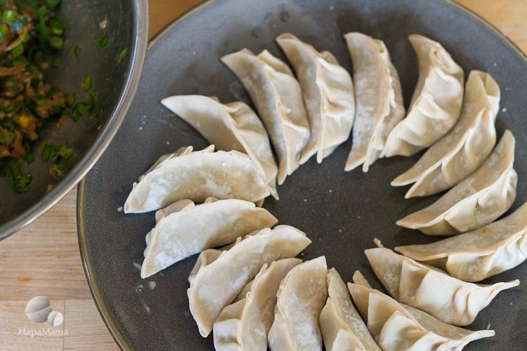 uncooked Chinese dumplings, HapaMama